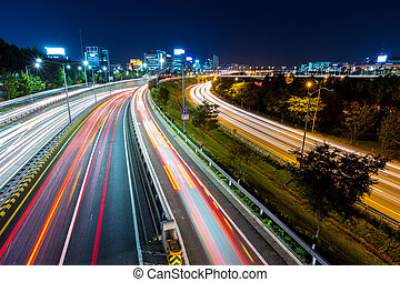 Seoul city with traffic at night