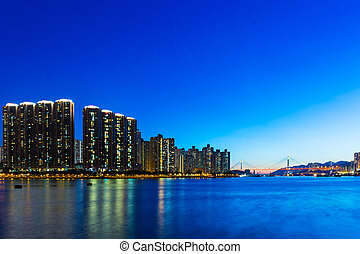 City in Hong Kong at night