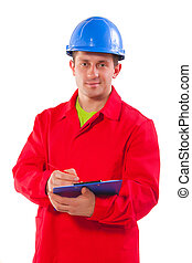 Confident engineer writing in clipboard isolated on white background stock photo