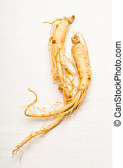 Ginseng over the white background
