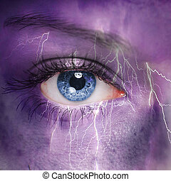 Nature concept - woman face with thunderstorm