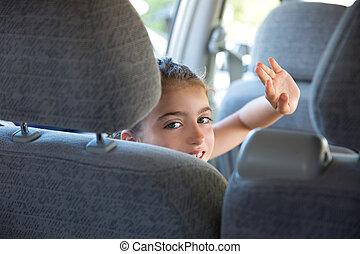 coche, interior, saludo, mano, niña, feliz, gesto, niño