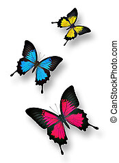 Colorful butterflies - Three colorful butterflies on white...
