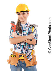 female worker holding tools