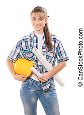 female worker with blueprints