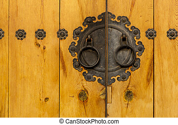 Traditional metallic door knob with wooden door