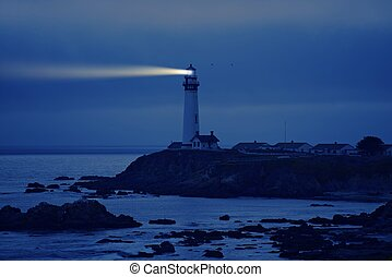 Lighthouse in California. Pigeon Point Lighthouse, CA, USA....