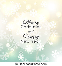 Christmas background, snowflakes and soft colors - Abstract...