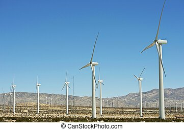 Alternative Energy Wind Turbines in California, USA. Energy...