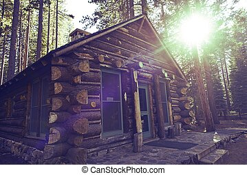 Mountain Cabin - Cozy Wooden Mountain Cabin - Aged Log Cabin...