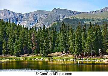 Colorado Echo Lake and Rocky Mountains Colorado Scenery, USA...
