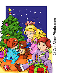 the party of Christmas - colored illustration of 3 children...