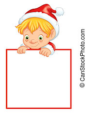 Christmas frame with elf - colored illustration of a...