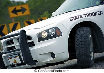 Police Cruiser State Trooper on a Highway. United States of...