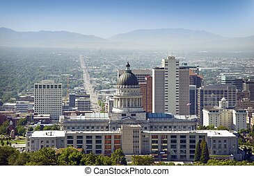 Salt Lake City Panorama and Capital Building. Salt Lake...
