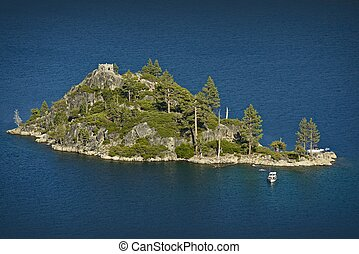 Lake Tahoe Fannette Island with Stone Tower ruins of Tea...