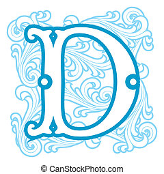 winter vintage letter D - vector image of letter D in the...