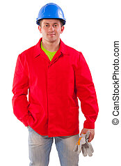 Young handsome worker Isolated over white background