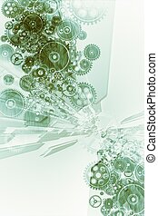 Mechanical Background - Cool Greenish Mechanical Background...