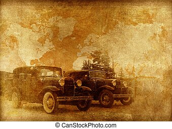 Classic Cars Background. Oldtimers World. Vintage Cars on a...