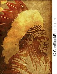 Native American Chief Portrait Vintage Grunge Background...