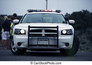 Police Intervention. Police Cruiser on the Road with...