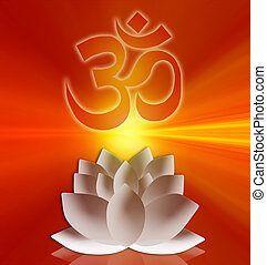 Om symbol with lotus flower