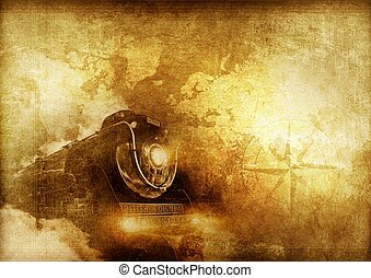 Vintage Travelers - Vintage Journey Background with Steam...
