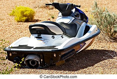Jet Ski on Land Four Stroke Engine Jet Ski Parked on a Beach...