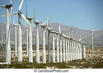 Renewable Energy Source. Wind Turbines Plantation in...