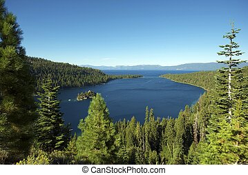 Lake Tahoe Bay Lake and Mountains Sierra Nevada Mountains...