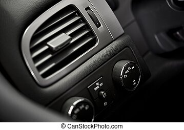 Car Air Condition Vent. Modern Car Dashboard Elements....