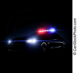Police car with full array of lightsq - Police car with full...
