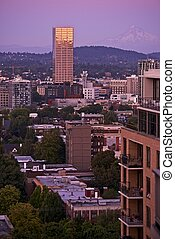 Portland and Mount Hood in a Distance Portland, Oregon, USA...