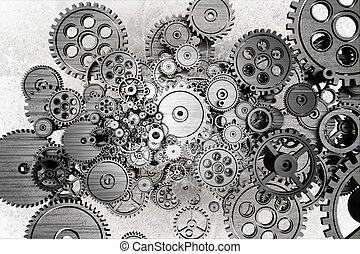 Grunge Gears Background. Black and White Dirty Grunge...