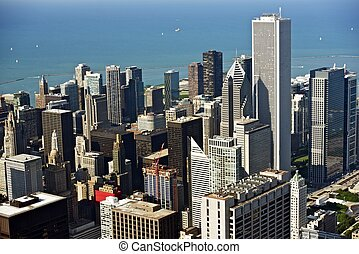 Chicago Aerial Photo. Downtown Chicago From Air. Illinois...