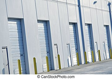 Warehouses Gates Closeup. Logistic Photo Collection.
