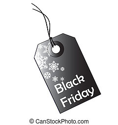 black friday - a black icon with white text and silhouettes...