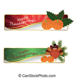 happy thanksgiving day - two signatures with pumpkins and a...