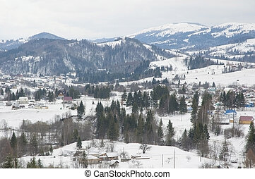 Carpathian Mountains in wintertime - Landscape of Carpathian...