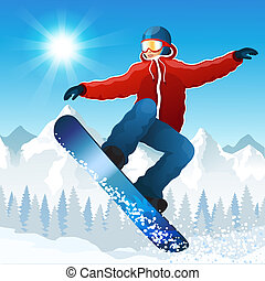 Snowboarding - Vector illustration with the young...
