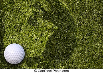 American Golf. Cool Golf Background with White Golf Ball and...