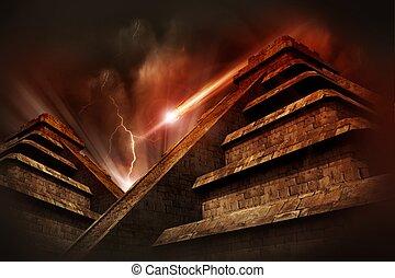 Mayan Apocalypse - Mayan Pyramids, Lightning Storm and...