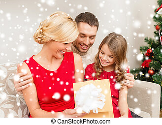 happy family opening gift box