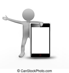 3d man and mobile