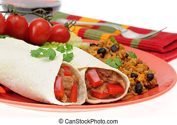 Bean Burrito - Delicious bean burrito served with mexican...