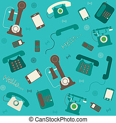retro and modern telephones background