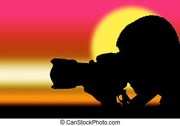 silhouette photographer at sunrise - silhouette photographer...