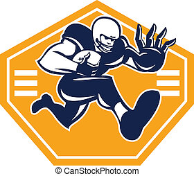 American Football Running Back Stiff Arm - Illustration of...