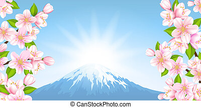 Japanese landscape - Vector illustration of the Japanese...